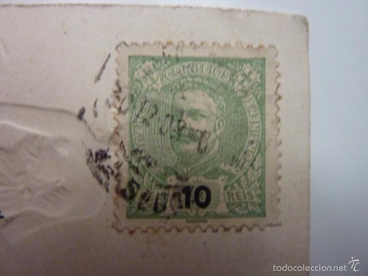 Postales: Tarjeta postal modernista en relieve. Circulada. Sello Portugal C. 1910 - Foto 4 - 57482899