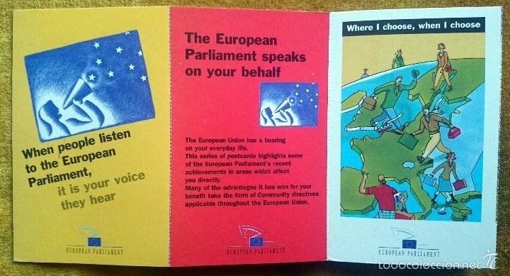 Postales: Tira con 10 postales editadas por el Parlamento Europeo para las elecciones de 1999. En Inglés. - Foto 7 - 57920676
