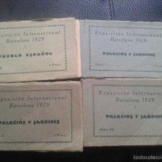 Postales: LOTE 4 BLOCKS EXPOSICIÓN INTERNACIONAL BARCELONA 1929. PALACIOS Y JARDINES.Y PUEBLO. Lote 58502990
