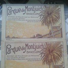 Postales: LOTE 2 BLOCKS DE PARQUE DE MONTJUICH BARCELONA SERIE 1 Y SERIE 2 -.MUY ANTIGUAS AÑOS 20-50. Lote 58503008