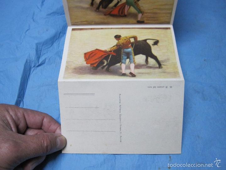 Postales: LIBRO DE POSTALES TEMATICAS SOBRE TOROS FIESTA NACIONAL ESPAÑOLA HELIOTIPIA ARTISTICA - Foto 3 - 60843647