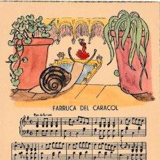 Postales: POSTAL MUSICAL - FARRUCA DEL CARACOL - LETRA Y PARTITURA MUSICA - AÑOS 40 - NUEVA -. Lote 65895410