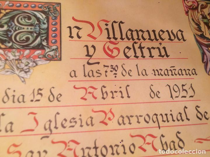 Postales: Antiguo recordatorio de boda fechado en 1951 en Vilanova y la Geltru - Foto 3 - 67041098