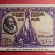 Postales: POSTAL - COLECTARJETAS - SERIE A Nº 25 - ESPAÑA - 100 PESETAS - 1928. Lote 75757459
