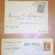 Postales: SOBRES CIRCULADOS FRANCIA 2 CARTAS POSTAL. 1900 Y 1912. Lote 83542532