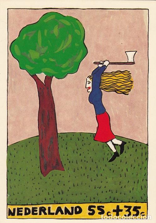 CHARLOTTE MUTSAERS 1. POSTAL IMAGEN SELLO DE CORREOS. HOLANDA 1987 (Postales - Varios)
