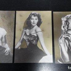 Postales: 3 POSTALES DE ACTORES Y ACTRICES FAMOSOS. MARILYN MONROE, AVA GARDNER Y MARLON BRANDO EN UN TRANVIA. Lote 89749628