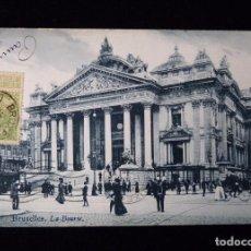 Postales: ANTIGUA TARJETA POSTAL, BRUXELLES, LA BOURSE. CIRCULADA PARIS, 1908 . Lote 89888676