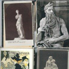 Postales: LIQUIDACION DE 100 POSTALES MUSEOS PINTURAS Y ESCULTURAS NUEVAS . Lote 98804771