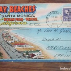 Postales: BAY BEACHES SANTA MONICA, OCEAN PARK AND VENICA, CALIFORNIA. C. 1940.. Lote 106306787