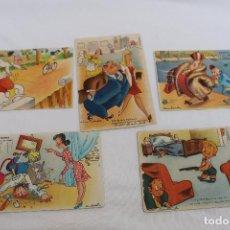 Postales: LOTE DE CINCO POSTALES ANTIGUAS. AÑOS 40/50. ILUSTRADAS POR MUNTAÑOLA. Lote 106560467