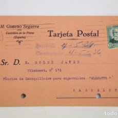 Postales: TARJETA POSTAL COMERCIAL - M. GIMENO SEGARRA - CASTELLÓN DE LA PLANA - AÑO 1936. Lote 108863899