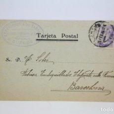 Postales: TARJETA POSTAL COMERCIAL DE EXPENDEDURÍA DE TABACO - BURGOS - AÑO 1940. Lote 108863964
