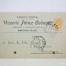 Postales: TARJETA POSTAL COMERCIAL - VICENTE PÉREZ GABEZAS - COMISIONES Y REPRESENTACIONES - ÁVILA - AÑO 1921. Lote 108864115