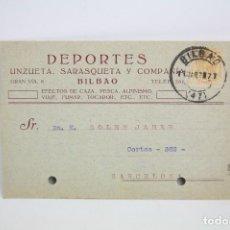Postales: TARJETA POSTAL COMERCIAL - UNZUETA, SARASQUETA Y COMPAÑÍA - DEPORTES - BILBAO - AÑO 1921. Lote 108865255