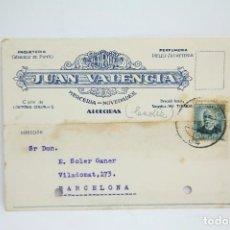 Postales: TARJETA POSTAL COMERCIAL - JUAN VALENCIA - MERCERIA, NOVEDADES - ALGECIRAS, CÁDIZ - AÑO 1934. Lote 108865499