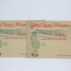Postales: PAREJA TARJETAS POSTALES COMERCIALES - HROS. DE ANTONIO VIDAL - FOTOGRABADOS - BARCELONA - AÑO ?. Lote 108865975