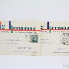 Postales: PAREJA TARJETAS POSTALES COMERCIALES - BOIX HERMANOS - LIBRERÍA, PAPELERÍA - MELILLA - AÑO 1934-1935. Lote 108866607
