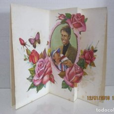 Postales: POSTAL RAMO DE FLORES Y PAREJA TROQUELADA DESPLEGABLE IKLUSTRADOR M.N VER FOTO ADICIONAL. Lote 109461819