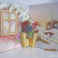 Postales: POSTAL PAISAJE Y FLORES TROQUELADA Y DESPLEGABLE ESC.1961 VER FOTO ADICIONAL . Lote 109466103
