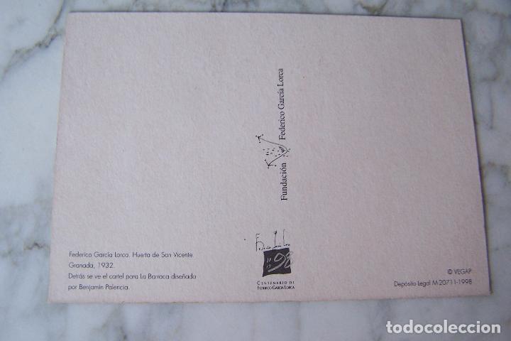 Postales: POSTAL FEDERICO GARCÍA LORCA. VEGAP 1998. FUNDACIÓN FEDERICO GARCÍA LORCA. - Foto 2 - 120337335
