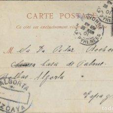 Postales: 1901 CARTERIA ALGORTA VIZCAYA APLICADA EN DESTINO EN POSTAL CORRIDA DE TOROS. JUEGO DE CAPA. ND FOTO. Lote 120854215