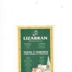 Postales: TARJETA PUBLICIDAD LIZARRAN TABERNAS SELECTAS. Lote 122988583