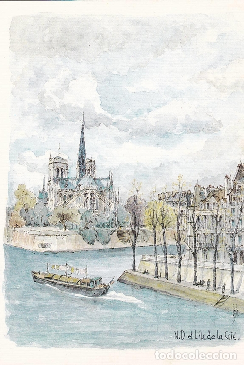 POSTAL B4029: PARIS: ROBERT LEPINE. ACUARELA (Postales - Varios)