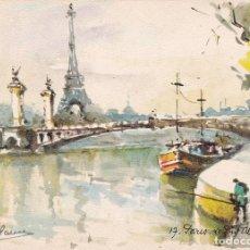 Postales: POSTAL B4030: PARIS: LA FUENTE DE ALEJANDRO IV. ACUARELA. Lote 123338267