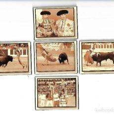 Postales: PEQUEÑA Y RARA COLECCION DE CINCO POSTALES ANTIGUAS EN CARTON DURO DE TOROS TAMAÑO 8 X 6 CM. Lote 128269023