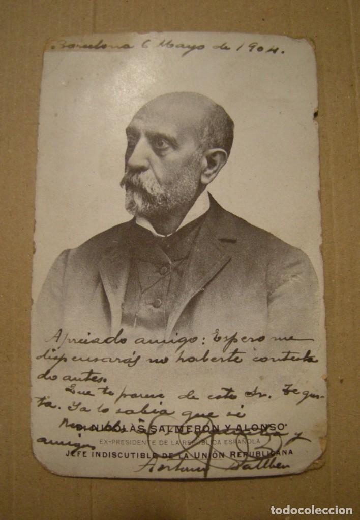 NICOLAS SALMERON. POSTAL CIRCULADA EL AÑO 1904. ESTADO EL DE LAS FOTOGRAFIAS (Postales - Varios)