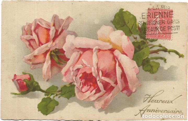 Pj1268 Postal Dibujo Bonitas Rosas Comprar En Todocoleccion