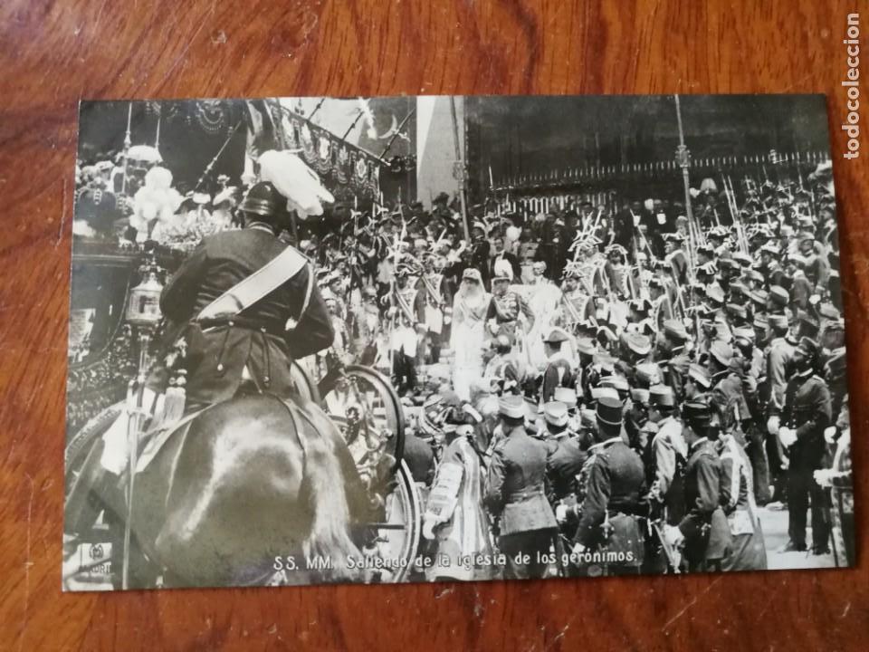 ANTIGUA POSTAL. BODA DE S.S. M.M. SALIENDO DE LA IGLESIA DE LOS JERÓNIMOS. ALFONSO XIII. (Postales - Varios)