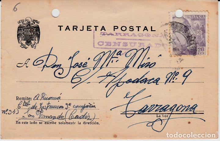 TARJETA POSTAL CON CENSURA MILITAR DE TARRAGONA 1943 (Postales - Varios)