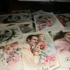 Postales: LOTE DE 14 POSTALES ROMÁNTICAS AÑOS 40 Y 50. Lote 139669597