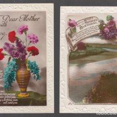 Postales: 4 POSTALES INGLESAS DE FELICITACIÓN. COLOR, BRILLO. IMPRESAS C. 1930. Lote 147814474