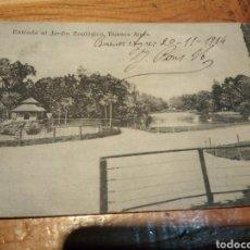 Postales: ENTRADA AL JARDIN ZOOLÓGICO BUENOS AIRES AÑO 1914. Lote 152587161