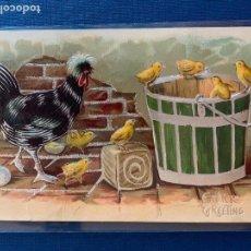 Postales: POSTAL DE FELICITACION DE PASCUA CON RELIEVE Y DECORACIÓN PLATEADA. CIRCULADA 1910.. Lote 153709010