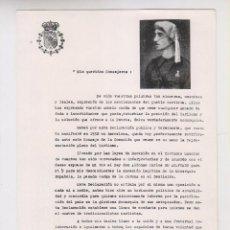 Postales: DECLARACIÓN HECHA POR DON JAVIER DE BORBÓN. 1956. CARLISMO. Lote 161296206