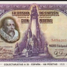 Postales: POSTAL BILLETES DEL MUNDO - COLECTARJETAS A 25 - ESPAÑA - 100 PESETAS - 1928 - S/C. Lote 163037446