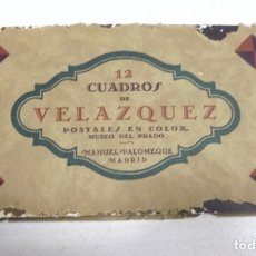 Postales: BLOCK DE 12 POSTALES. CUADROS DE VELAZQUEZ. MUSEO DEL PRADO. MANUEL PALOMEQUE. VER POSTALES. Lote 163881058