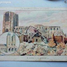 Postales: NOYON - LA CATEDRAL - LOS MONUMENTOS VICTIMAS DE LA GUERRA - PUBLICIDAD JARABES DESCHIENS. Lote 168762052