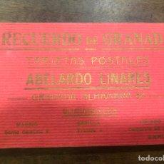 Postales: LIBRO RECUERDO DE GRANADA - TARJETAS POSTALES POR ABELARDO LINARES - ALHAMBRA. Lote 172067040