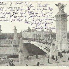 Postales: POSTAL PARIS. LE PONT ALEXANDRE III. 1903. FRANCIA. ESCRITA CON SELLO.. Lote 174159640