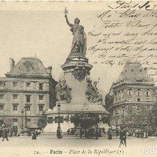 Postales: POSTAL PARIS. PLACE DE LA REPUBLIQUE. 54. FRANCIA. ESCRITA CON SELLO. 1903.. Lote 174178579