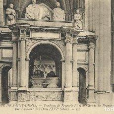 Postales: POSTAL FRANCIA L'ABBAYE DE SAINT-DENIS. TOMBEAU DE FRANÇOIS 1R ET DE CLAUDE DE FRANCE. LL. 8.. Lote 175209609