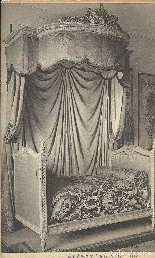 POSTAL FRANCIA. MUSÉE DES ARTS DECORATIFS. LIT EPOQUE LOUIS XVI. ND. PRINCIPIOS DEL SIGLO XX. (Postales - Varios)