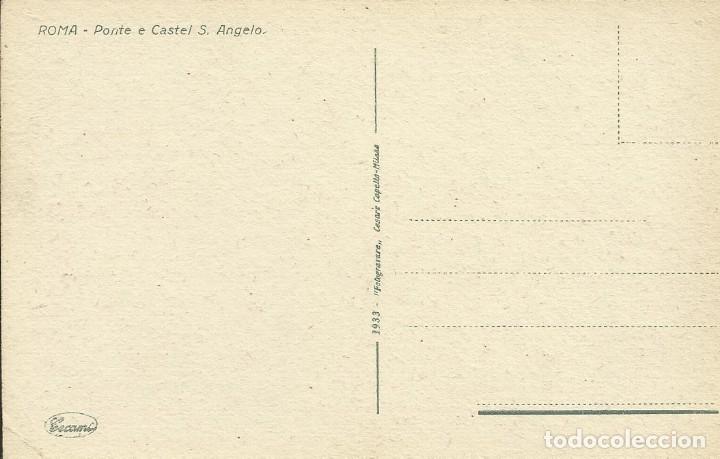 Postales: Postal Italia. Roma. Puente y castillo San Angelo. Principios siglo XX. 9x14 cm. 1933. - Foto 2 - 175510945
