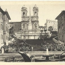 Postales: POSTAL ITALIA. ROMA. IGLESIA DE LA TRINIDAD Y PLAZA ESPAÑA. PRINCIPIOS SIGLO XX. 9X14 CM.. Lote 175511059