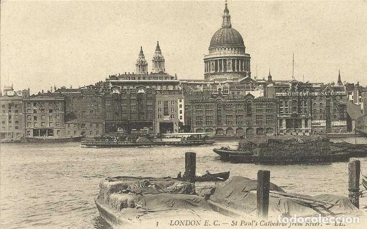 POSTAL INGLATERRA. LONDRES. LONDON. SAINT-PAUL'S CATHEDRAL FROM RIVER. LL. 3. PRINCIPIOS SIGLO XX. (Postales - Varios)